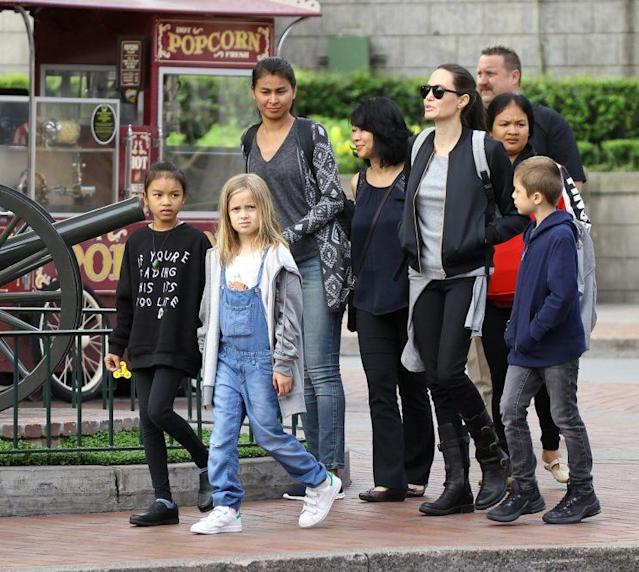 Angelina Jolie celebrates Shiloh's 11th birthday at Disneyland with her kids: Knox, Vivian and Zahara, and a group of friends visiting from Cambodia on May 26 2017. (Photo: The Mega Agency)