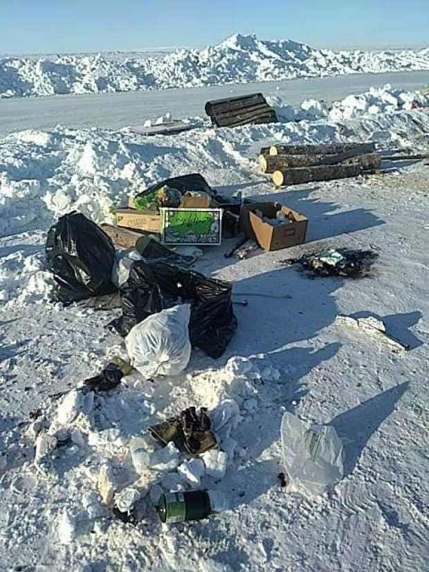 The garbage and debris was left behind on the Tibbitt to Contwoyto ice road near MacKay Lake.