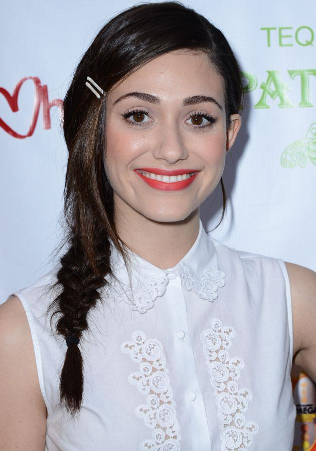Celebrities wearing red lipstick: Emmy Rossum wore a light red lipstick with fishtail.<br><br>[Rex]
