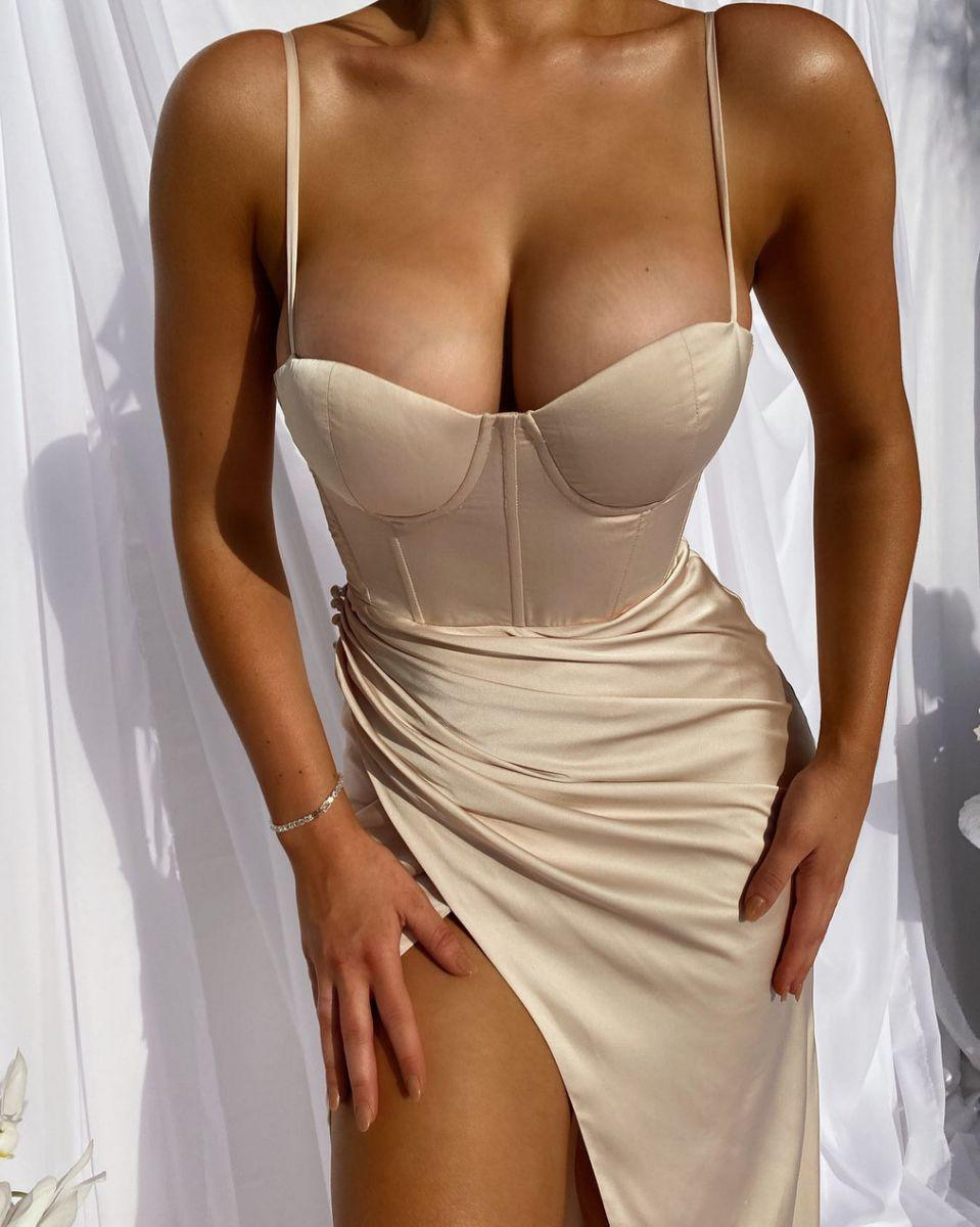 Image of busty bridesmaid dress Aussie label, 'too rude' for wedding 2020