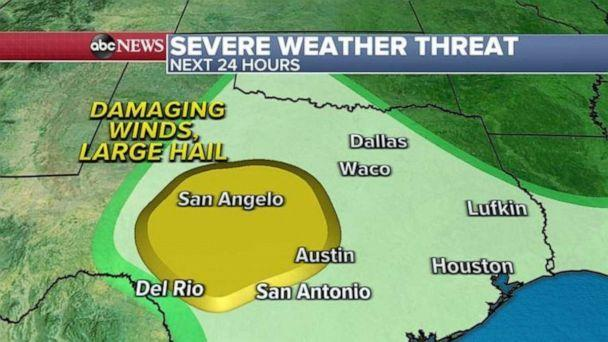 PHOTO: On Wednesday, severe weather will be mostly in Texas from Austin to San Angelo with the biggest threat for hail and damaging winds. (ABC News)