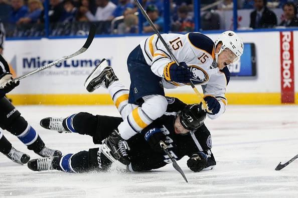"TAMPA, FL – APRIL 09: <a class=""link rapid-noclick-resp"" href=""/nhl/teams/tam/"" data-ylk=""slk:Tampa Bay Lightning"">Tampa Bay Lightning</a> left wing Adam Erne (73) slides into <a class=""link rapid-noclick-resp"" href=""/nhl/teams/buf/"" data-ylk=""slk:Buffalo Sabres"">Buffalo Sabres</a> center <a class=""link rapid-noclick-resp"" href=""/nhl/players/6744/"" data-ylk=""slk:Jack Eichel"">Jack Eichel</a> (15) after losing his footing in the 2nd period of the NHL game between the Buffalo Sabres and Tampa Bay Lightning on April 09, 2017, at Amalie Arena in Tampa, FL. (Photo by Mark LoMoglio/Icon Sportswire via Getty Images)"