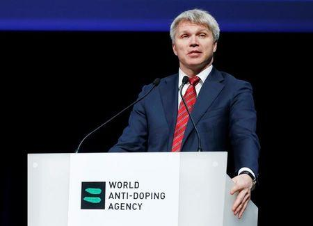 Pavel Kolobkov, Minister of Sport of Russia addresses the Symposium of the World Anti Doping Agency (WADA) in Ecublens, Switzerland, March 13, 2017. REUTERS/Denis Balibouse/Files