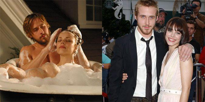 """<p><strong>The movie: </strong><em>The Notebook </em><span class=""""redactor-invisible-space"""">(2004)</span></p><p>The pair might've won an MTV Movie Award for their steamy, rain-drenched kiss, but you know who else should've won something? The casting director that paired the duo together in the first place. It was a coupling so strong that they dated for four years after the film hit theaters.</p><p><strong>RELATED: <a href=""""https://www.redbookmag.com/love-sex/relationships/a50332/the-notebook-facts/"""" rel=""""nofollow noopener"""" target=""""_blank"""" data-ylk=""""slk:11 Things You Never Knew About The Notebook That Will Make It Even More Romantic"""" class=""""link rapid-noclick-resp"""">11 Things You Never Knew About <em>The Notebook</em> That Will Make It Even More Romantic</a></strong><br></p>"""