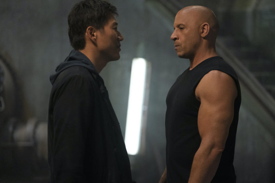 Han (Sung Kang) and Dom (Vin Diesel) in Fast & Furious 9. (PHOTO: United International Pictures)