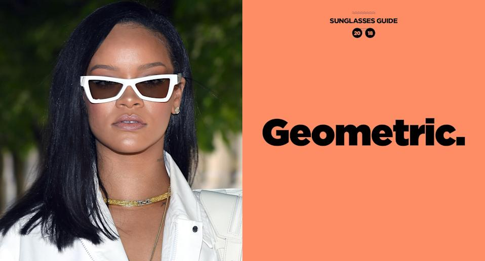 <p>Rihanna's sunglasses help punctuate her flawless statement fashion looks. They are bold and edgy just like RiRi. (Photo: Getty Images; art: Quinn Lemmers for Yahoo Lifestyle) </p>