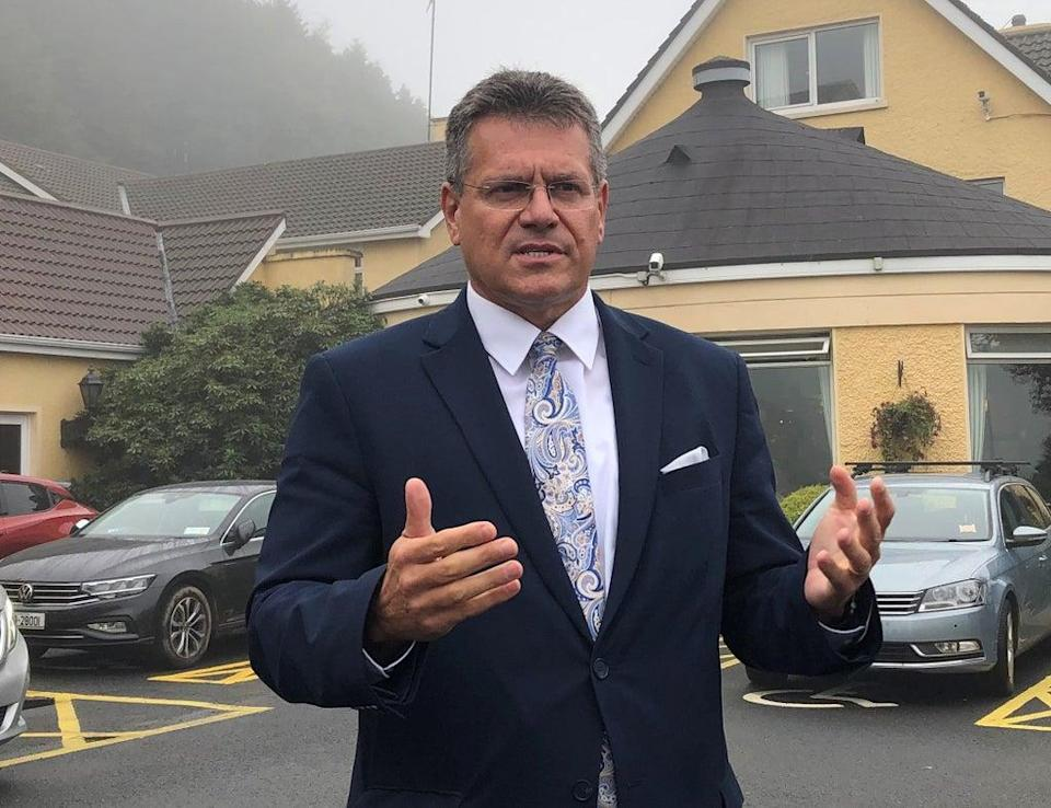 European Commission vice-president Maros Sefcovic speaking after a meeting with business leaders in Newry (Jonathan McCambridge/PA) (PA Wire)