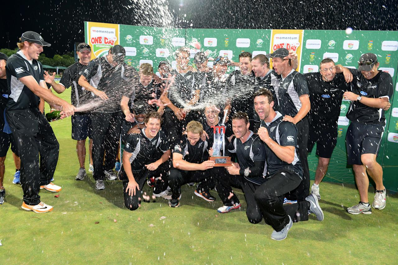 POTCHEFSTROOM, SOUTH AFRICA - JANUARY 25:  New Zealand celebrate their first series win in South Africa during the 3rd One Day International match between South Africa and New Zealand at Senwes Park on January 25, 2013 in Potchefstroom, South Africa. (Photo by Lee Warren/Gallo Images/Getty Images)