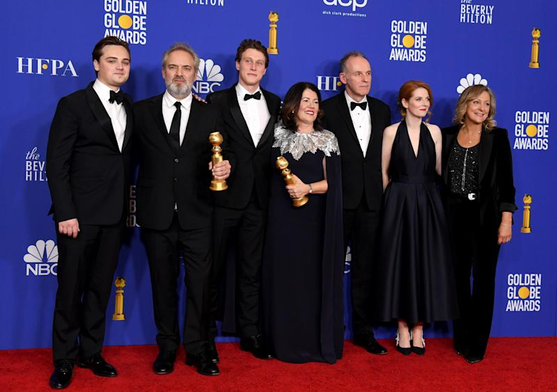 BEVERLY HILLS, CALIFORNIA - JANUARY 05: (L-R) Dean-Charles Chapman, Sam Mendes, George MacKay, Pippa Harris, Callum McDougall, Krysty Wilson-Cairns, and Jayne-Ann Tenggre of the film '1917,' winner of the Best Motion Picture - Drama award, pose in the press room during the 77th Annual Golden Globe Awards at The Beverly Hilton Hotel on January 05, 2020 in Beverly Hills, California. (Photo by Kevin Winter/Getty Images)