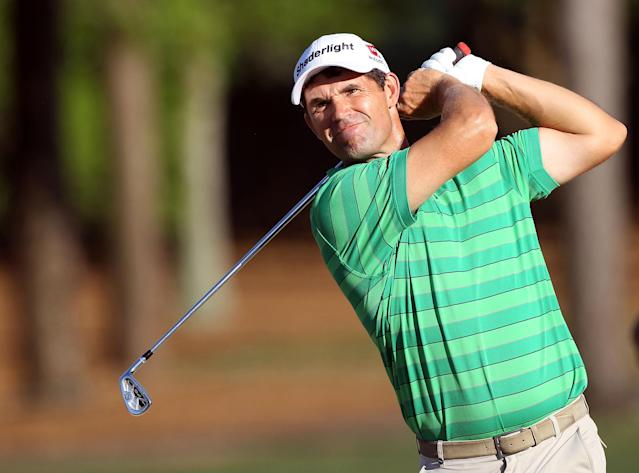 PALM HARBOR, FL - MARCH 17: Padraig Harrington of Ireland plays a shot on the 18th hole during the third round of the Transitions Championship at the Innisbrook Resort and Golf Club on March 17, 2012 in Palm Harbor, Florida. (Photo by Sam Greenwood/Getty Images)