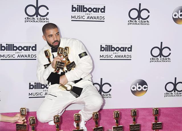 Rapper-singer-songwriter Drake poses with awards at the 2017 Billboard Music Awards at T-Mobile Arena on May 21, 2017, in Las Vegas. (Photo: Jeffrey Mayer/WireImage)