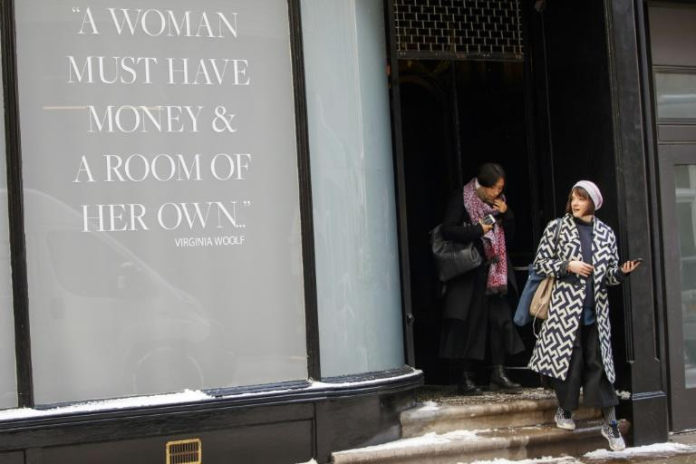 The club's motto, splashed across its front window, is from the 19th-century British novelist and renowned feminist Virginia Woolf