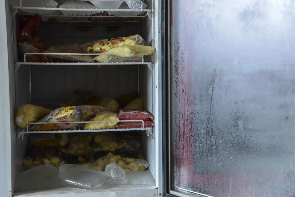 MACAPA, BRAZIL - NOVEMBER 08: Detailed view of a freezer full with food, which works with a generator at Edmario Costa's bakery during a blackout due to fire in the Macapa substation on November 8, 2020 in Macapa, Brazil. The substation located in the North Zone of Macapa undergoes maintenance after a fire that has left 89% of the state of Amapa (about 765 thousand people) without electricity since Tuesday the 3rd. There is a lack of running water in the city and ATMs and card machines do not work and only gas stations with a generator are able to operate. (Photo by Luiza Nobre/Getty Images)