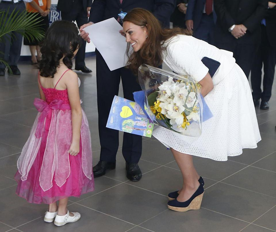 "<p>What the Queen says goes, and she apparently hates wedge shoes. Kate Middleton has been photographed <a href=""https://www.goodhousekeeping.com/life/news/a46200/kate-middleton-secret-hack-high-heels-comfortable/"" rel=""nofollow noopener"" target=""_blank"" data-ylk=""slk:wearing them on several occasions,"" class=""link rapid-noclick-resp"">wearing them on several occasions,</a> but royal sources claim that the women in the family are warned not to wear them when they're around HRH.</p>"