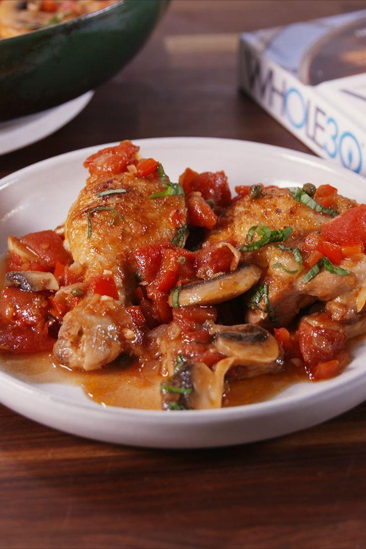 "<p>There's no catch—this dinner is totally guilt-free.</p><p>Get the recipe from <a href=""https://www.delish.com/cooking/recipe-ideas/recipes/a54827/whole-30-chicken-cacciatore-recipe/"" rel=""nofollow noopener"" target=""_blank"" data-ylk=""slk:Delish"" class=""link rapid-noclick-resp"">Delish</a>.</p>"