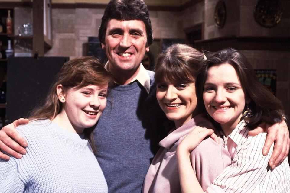 Jane Hazelarove as Sue Clayton, Johnny Leeze as Harry Clayton, Susan Brown as Connie Clayton and Caroline o'Neill as Andrea Clayton in Coronation Street