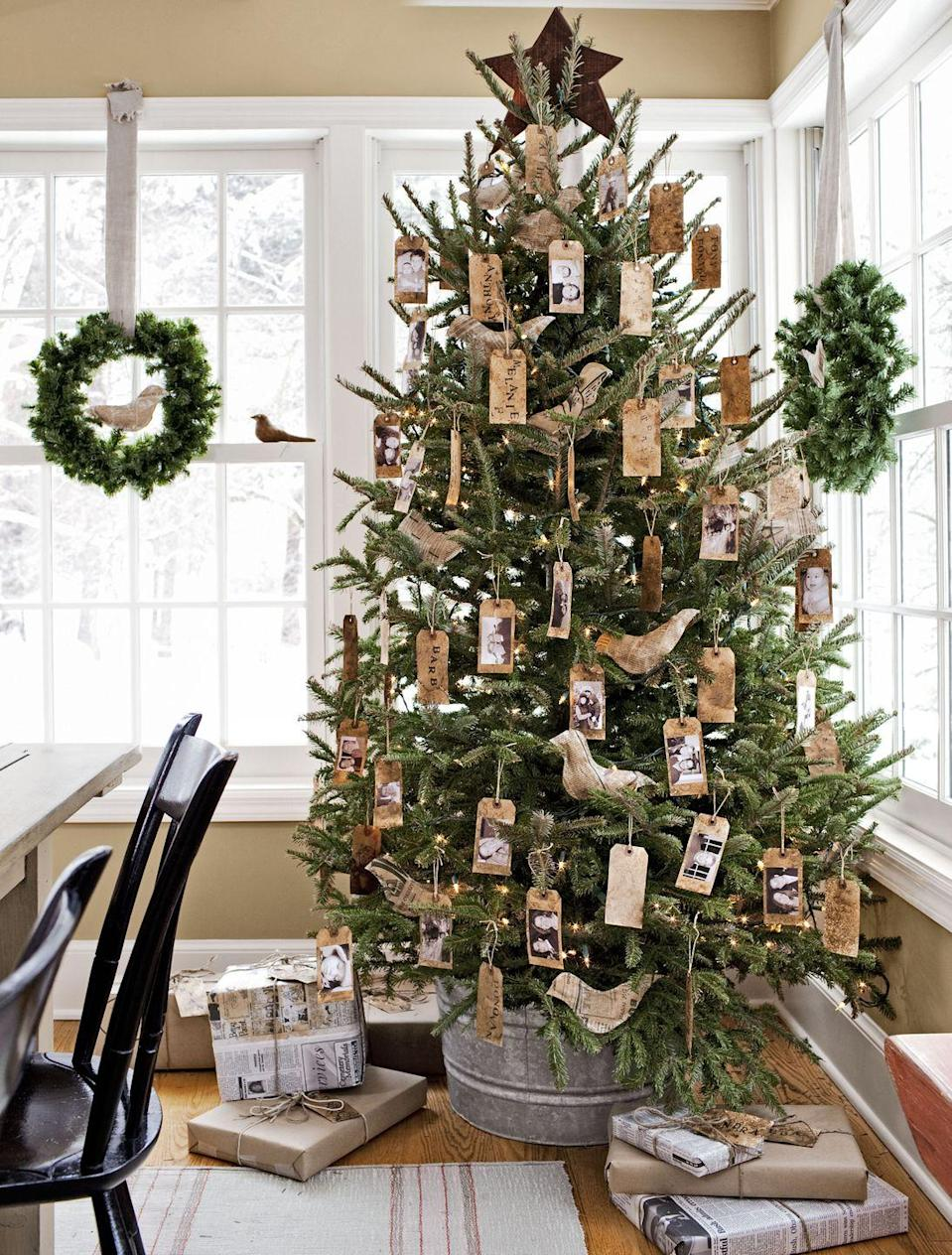 <p>Looking for a way to play up the true meaning of Christmas? Glue your best family photos to the back of gift tags for a sentimental touch.</p>