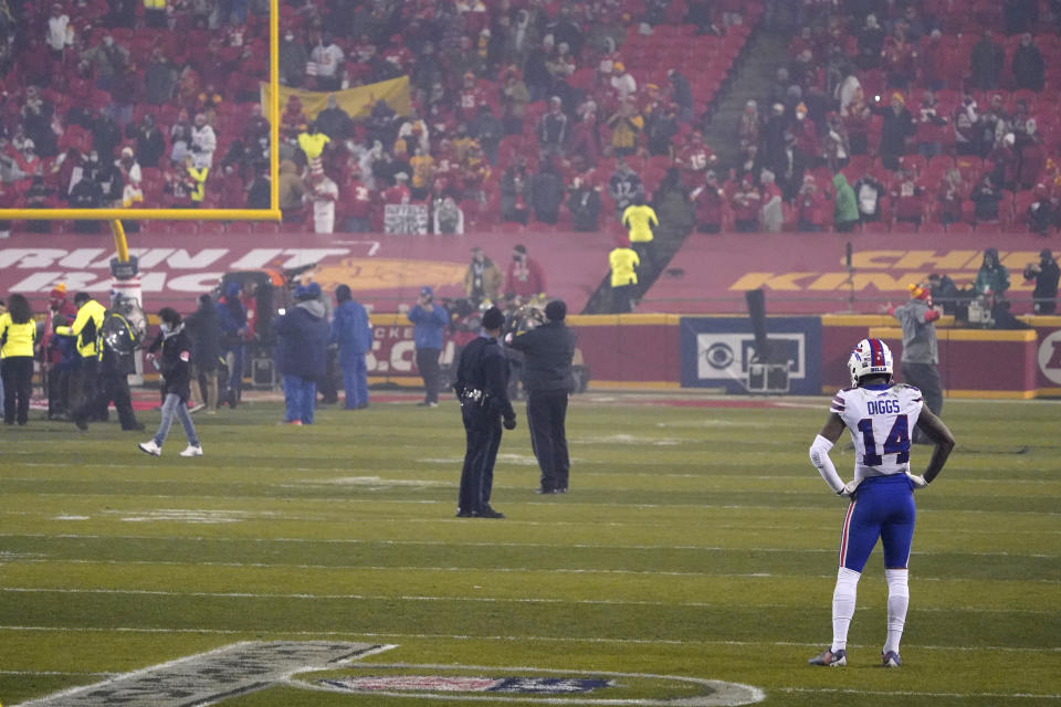 Buffalo Bills wide receiver Stefon Diggs stands on the field after the Chiefs won the AFC championship. (AP Photo/Jeff Roberson)