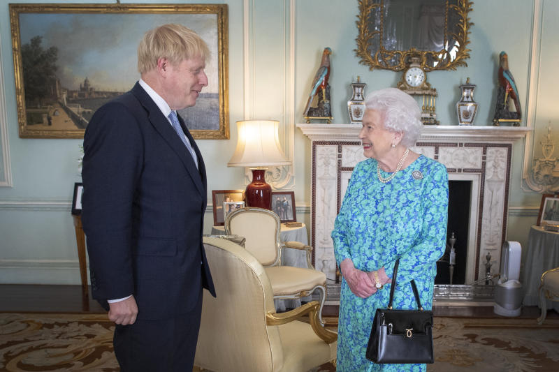 Queen Elizabeth II welcome Boris Johnson to an audience in Buckingham Palace