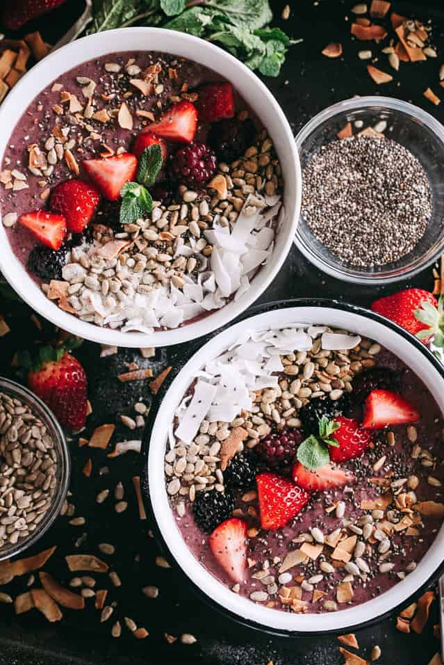 "<p>Would you guess there's spinach hiding in here?!</p><p>Get the recipe from <a href=""https://diethood.com/rainbow-protein-smoothie-bowl/"" rel=""nofollow noopener"" target=""_blank"" data-ylk=""slk:Diethood"" class=""link rapid-noclick-resp"">Diethood</a>.</p>"