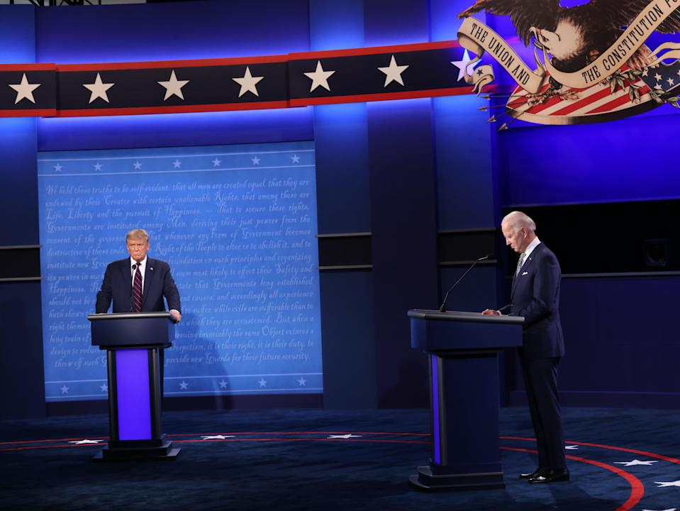 Donald Trump and Joe Biden during their first presidential debate, which turned chaotic early on. (Getty Images)