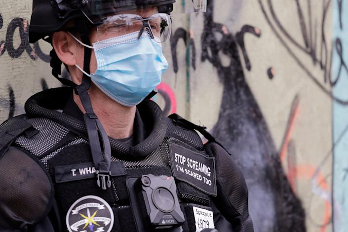 A police officer in Seattle in July 2020.
