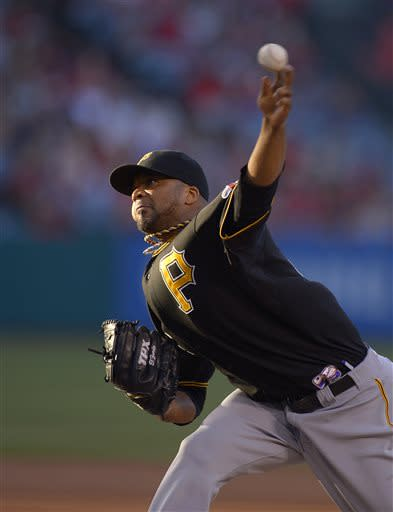 Pittsburgh Pirates starting pitcher Francisco Liriano throws to the plate during the first inning of their baseball game against the Los Angeles Angels, Saturday, June 22, 2013, in Anaheim, Calif. (AP Photo/Mark J. Terrill)