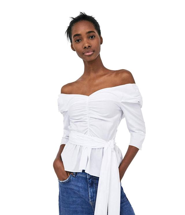 "<p>Poplin top with bow, $50, <a href=""https://www.zara.com/us/en/poplin-top-with-bow-p02548872.html?v1=6094115&v2=401033"" rel=""nofollow noopener"" target=""_blank"" data-ylk=""slk:zara.com"" class=""link rapid-noclick-resp"">zara.com</a> </p>"