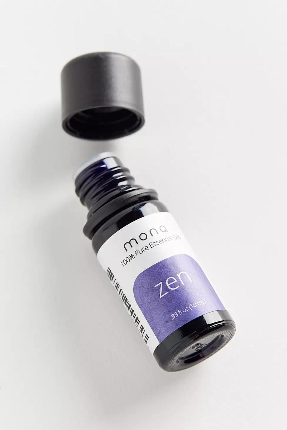 """<p>The combination of calming scents like ylang ylang and bergamot in the <a href=""""https://www.popsugar.com/buy/Monq-Zen-Pure-Essential-Oil-572309?p_name=Monq%20Zen%20Pure%20Essential%20Oil&retailer=urbanoutfitters.com&pid=572309&price=30&evar1=fit%3Aus&evar9=47456050&evar98=https%3A%2F%2Fwww.popsugar.com%2Ffitness%2Fphoto-gallery%2F47456050%2Fimage%2F47456587%2FMonq-Zen-Pure-Essential-Oil&prop13=mobile&pdata=1"""" class=""""link rapid-noclick-resp"""" rel=""""nofollow noopener"""" target=""""_blank"""" data-ylk=""""slk:Monq Zen Pure Essential Oil"""">Monq Zen Pure Essential Oil</a> ($30) may help you reach ultimate relaxation levels. If you don't have a diffuser, you can simply add a few drops to a steamy shower and chill out.</p>"""