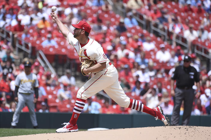 St. Louis Cardinals starting pitcher Adam Wainwright throws during the first inning of a baseball game against the Pittsburgh Pirates Saturday, June 26, 2021, in St. Louis. (AP Photo/Joe Puetz)