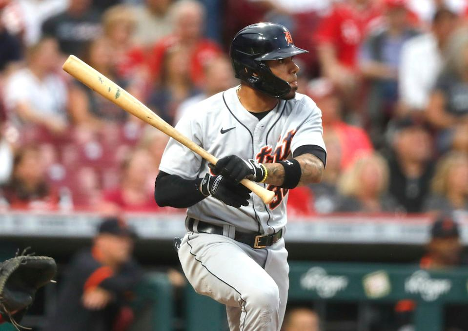 Detroit Tigers shortstop Harold Castro (30) hits a two-run double against the Cincinnati Reds during the second inning at Great American Ball Park on Sept. 3, 2021.