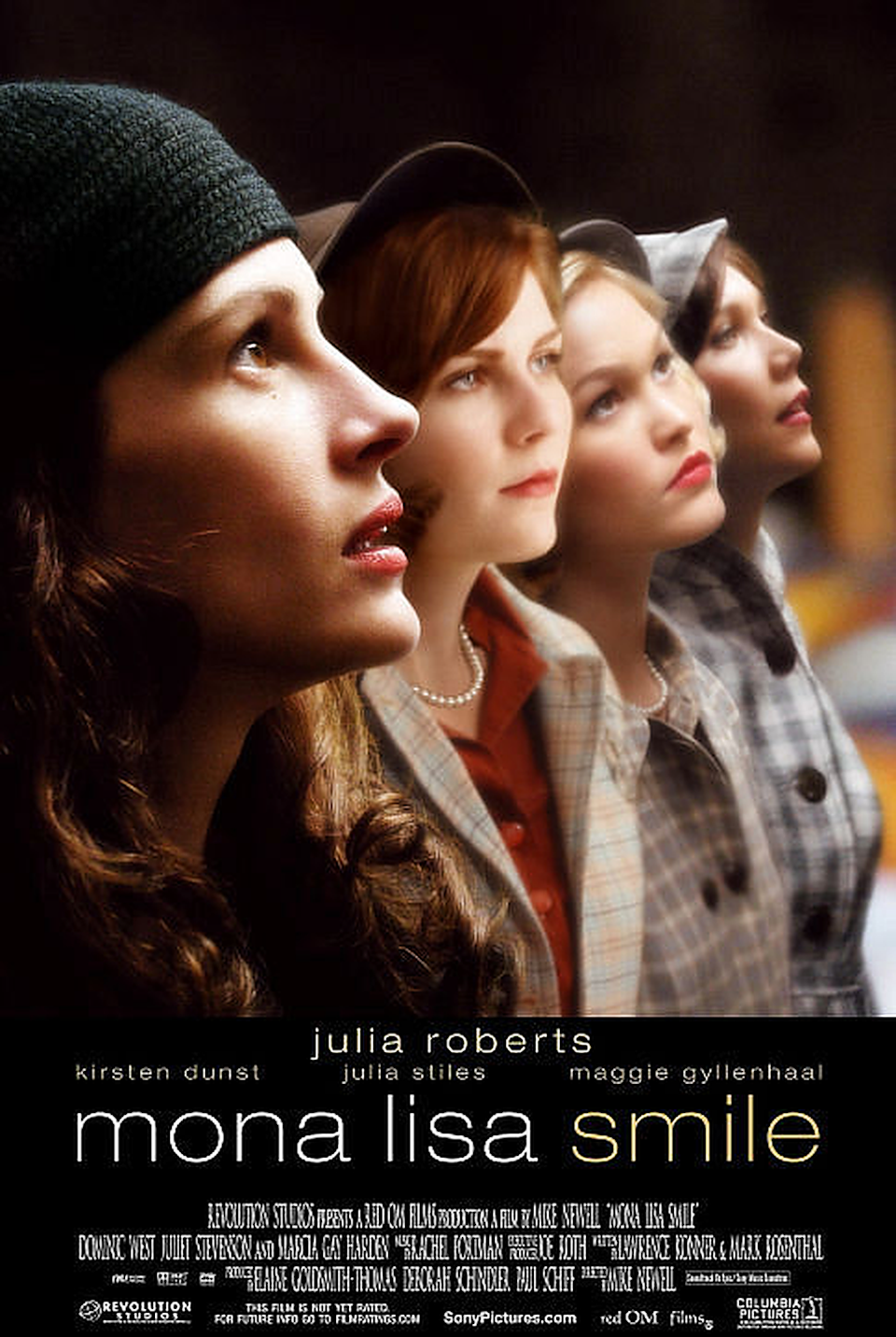 """<p>Set in 1953, this film follows Katherine (<strong>Julia Roberts</strong>), a recent UCLA graduate student who gets hired to teach art history at the prestigious all-female university Wellesley College. She inspires many students, including Betty (<strong>Kirsten Dunst</strong>) and Joan (<strong>Julia Stiles</strong>), leading to unexpected twists and turns.</p><p><a class=""""link rapid-noclick-resp"""" href=""""https://www.amazon.com/Mona-Lisa-Smile-Ginnifer-Goodwin/dp/B000JD1CBY/ref=sr_1_1?dchild=1&keywords=MONA+LISA+SMILE&qid=1596922814&sr=8-1&tag=syn-yahoo-20&ascsubtag=%5Bartid%7C10055.g.33513354%5Bsrc%7Cyahoo-us"""" rel=""""nofollow noopener"""" target=""""_blank"""" data-ylk=""""slk:WATCH NOW"""">WATCH NOW</a></p>"""