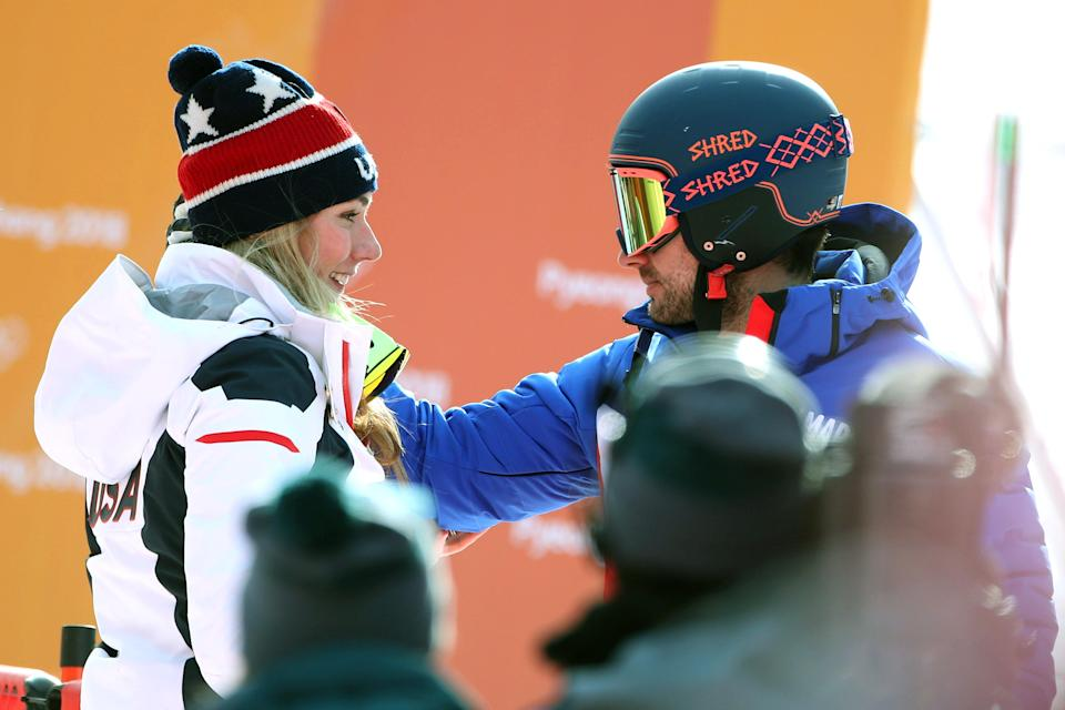 Mikaela Shiffrin, left, with boyfriend and French skier Mathieu Faivre in PyeongChang. (Getty)