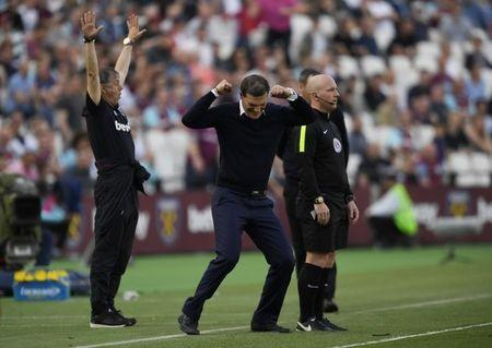 Britain Football Soccer - West Ham United v Swansea City - Premier League - London Stadium - 8/4/17 West Ham United manager Slaven Bilic celebrates after the match  Action Images via Reuters / Tony O'Brien Livepic