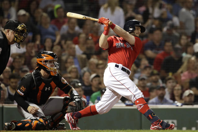Boston Red Sox's Andrew Benintendi follows through on an RBI triple in front of Baltimore Orioles catcher Chance Sisco during the fourth inning of a baseball game at Fenway Park, Friday, Aug. 16, 2019, in Boston. (AP Photo/Elise Amendola)