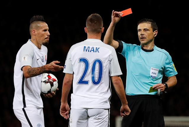 Soccer Football - 2018 World Cup Qualifications - Europe - Scotland vs Slovakia - Hampden Park, Glasgow, Britain - October 5, 2017 Slovakia's Robert Mak is shown a red card by referee Milorad Mazic Action Images via Reuters/Lee Smith