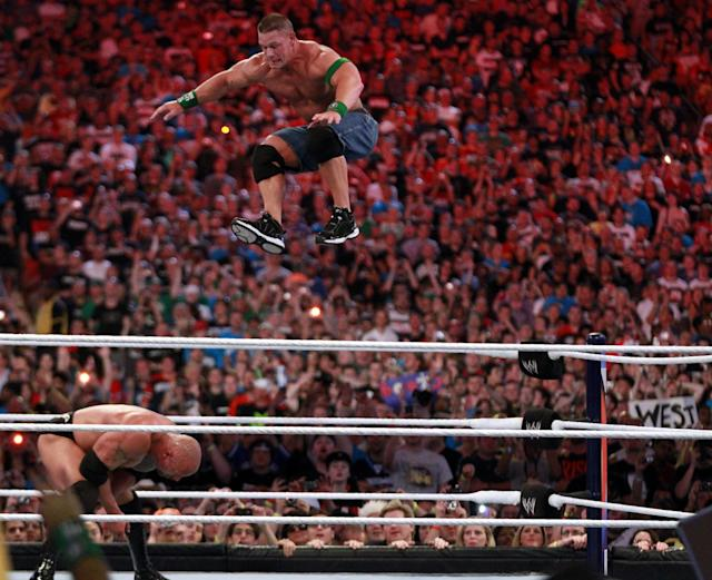 Dwyane 'The Rock' Johnson competes against John Cena at WrestleMania XXVIII in Sun Life Stadium on April 1, 2012 in Miami, Florida. (Marc Serota/AP Images)