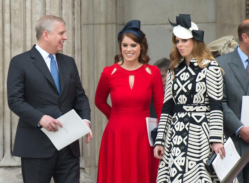 LONDON, ENGLAND - JUNE 10: Prince Andrew, Duke of York, Princess Eugenie and Princess Beatrice attend a National Service of Thanksgiving as part of the 90th birthday celebrations for The Queen at St Paul's Cathedral on June 10, 2016 in London, England. (Photo by Zak Hussein - Corbis/Corbis via Getty Images)