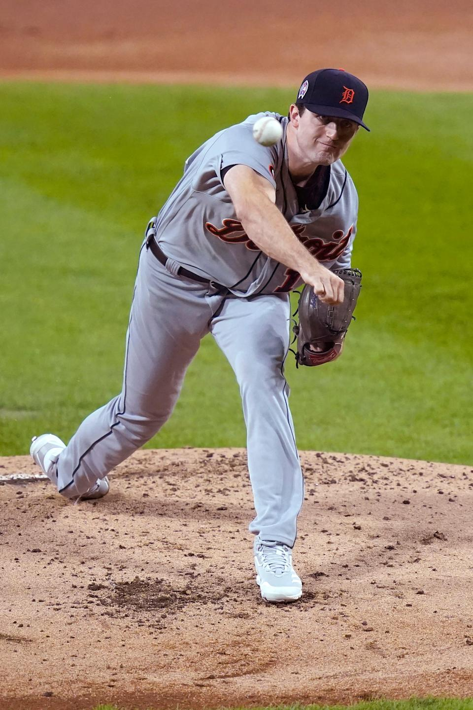 Detroit Tigers starting pitcher Casey Mize delivers during the first inning of a baseball game against the Chicago White Sox on Friday, Sept. 11, 2020, in Chicago.