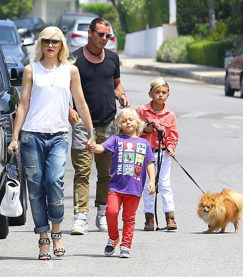 51123913 Singer Gwen Stefani and husband Gavin Rossdale take their sons Kingston and Zuma to Jessica Alba's daughter Honor's 5th Birthday party at the Alba residence in Beverly Hills, California on June 8, 2013. FameFlynet, Inc - Beverly Hills, CA, USA - 1 (818) 307-4813