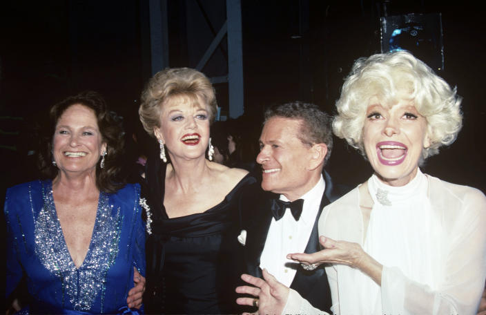 From left, Coleen Dewhurst, Angela Lansbury, Jerry Herman and Carol Channing at the Tony Awards in 1989. (MediaPunch /IPX)