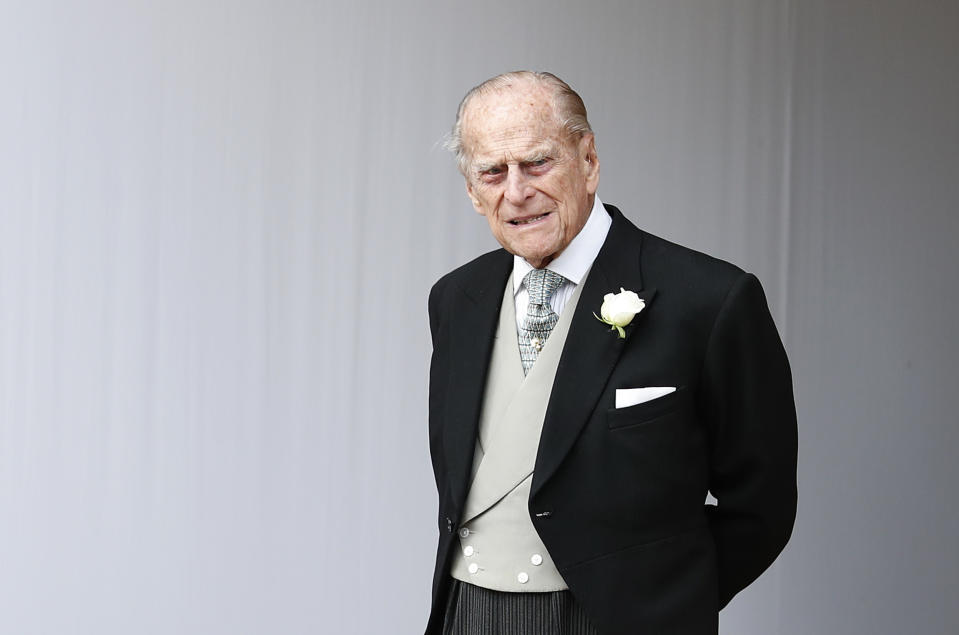 Prince Philip, Duke of Edinburgh attends the wedding of Princess Eugenie of York to Jack Brooksbank at St. George's Chapel on October 12, 2018 in Windsor, England.