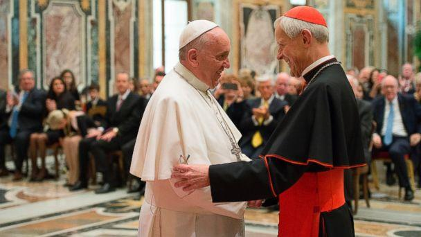 In this Wednesday, Oct. 20, 2010 file photo, Pope Francis, left, talks with Papal Foundation Chairman Cardinal Donald Wuerl, Archbishop of Washinghton, D.C., during a meeting with members of the Papal Foundation at the Vatican. (AP)
