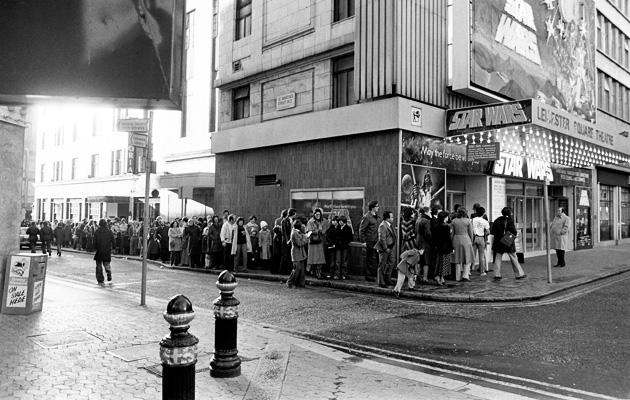 Queue are not alone... 'Star Wars' fans wait in line