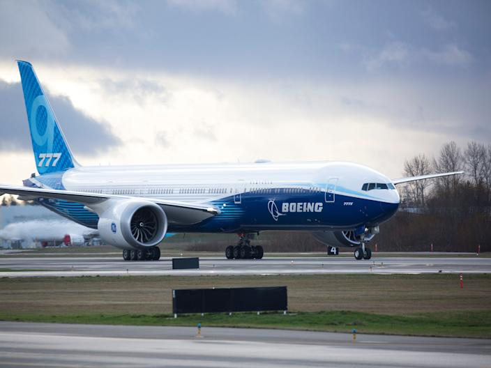 A Boeing 777X taxing at Paine Field.