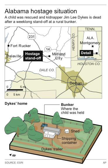 Map locates Midland City, Ala., site of a hostage stand-off that ended when alleged kidnapper was killed.