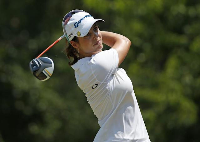 Beatriz Recari, of Spain, watches her tee shot on the 10th hole during a practice round for the U.S. Women's Open golf tournament in Pinehurst, N.C., Wednesday, June 18, 2014. (AP Photo/John Bazemore)
