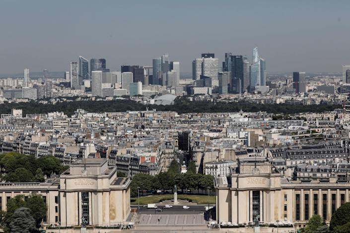 A view of the Place du Trocadero (forground) and La Defence skyline seen from the Eiffel Tower during its partial reopening on June 25, 2020, in Paris, as France eases lockdown measures taken to curb the spread of the COVID-19 caused by the novel coronavirus. - Tourists and Parisians will again be able to admire the view of the French capital from the Eiffel Tower after a three-month closure due to the coronavirus -- but only if they take the stairs. (Photo by Thomas SAMSON / AFP) (Photo by THOMAS SAMSON/AFP via Getty Images)