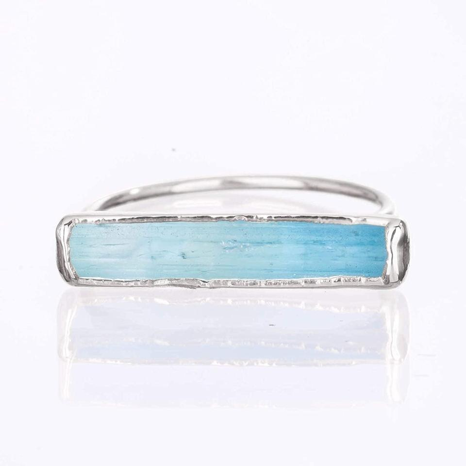 <p>This <span>Raw Aquamarine Sterling Silver Ring</span> ($60) is a stunning piece that can be worn everyday.</p>