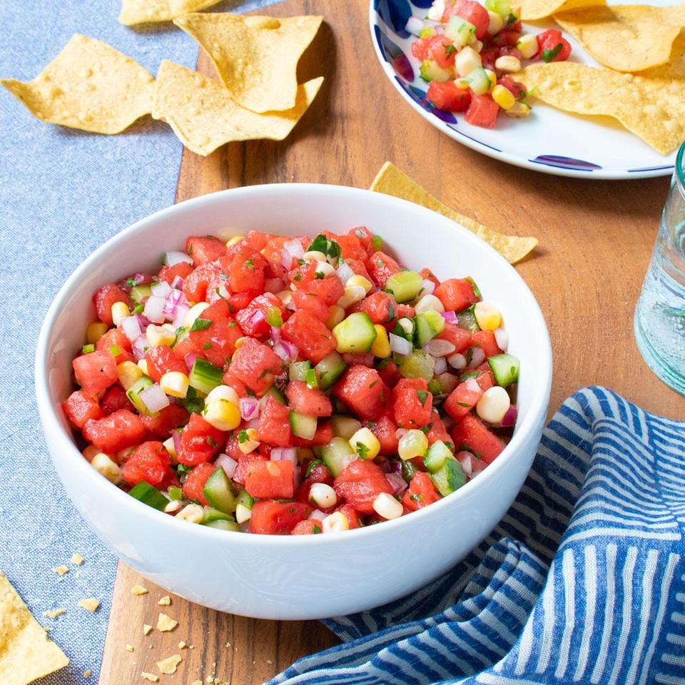 "<p>This refreshing summer salsa combines cooling watermelon and cucumber with the kick from jalapeño. The heat from jalapeños can vary widely. For those that like the heat, use a whole jalapeño. Serve with tortilla chips on the side. <a href=""http://www.eatingwell.com/recipe/281376/watermelon-cucumber-corn-salsa/"" rel=""nofollow noopener"" target=""_blank"" data-ylk=""slk:View recipe"" class=""link rapid-noclick-resp""> View recipe </a></p>"